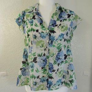 Sunny Leigh Floral Top Sz S White Blue Green